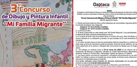 "Convoca IOAM al Tercer Concurso de Dibujo y Pintura Infantil ""Mi Familia Migrante"""