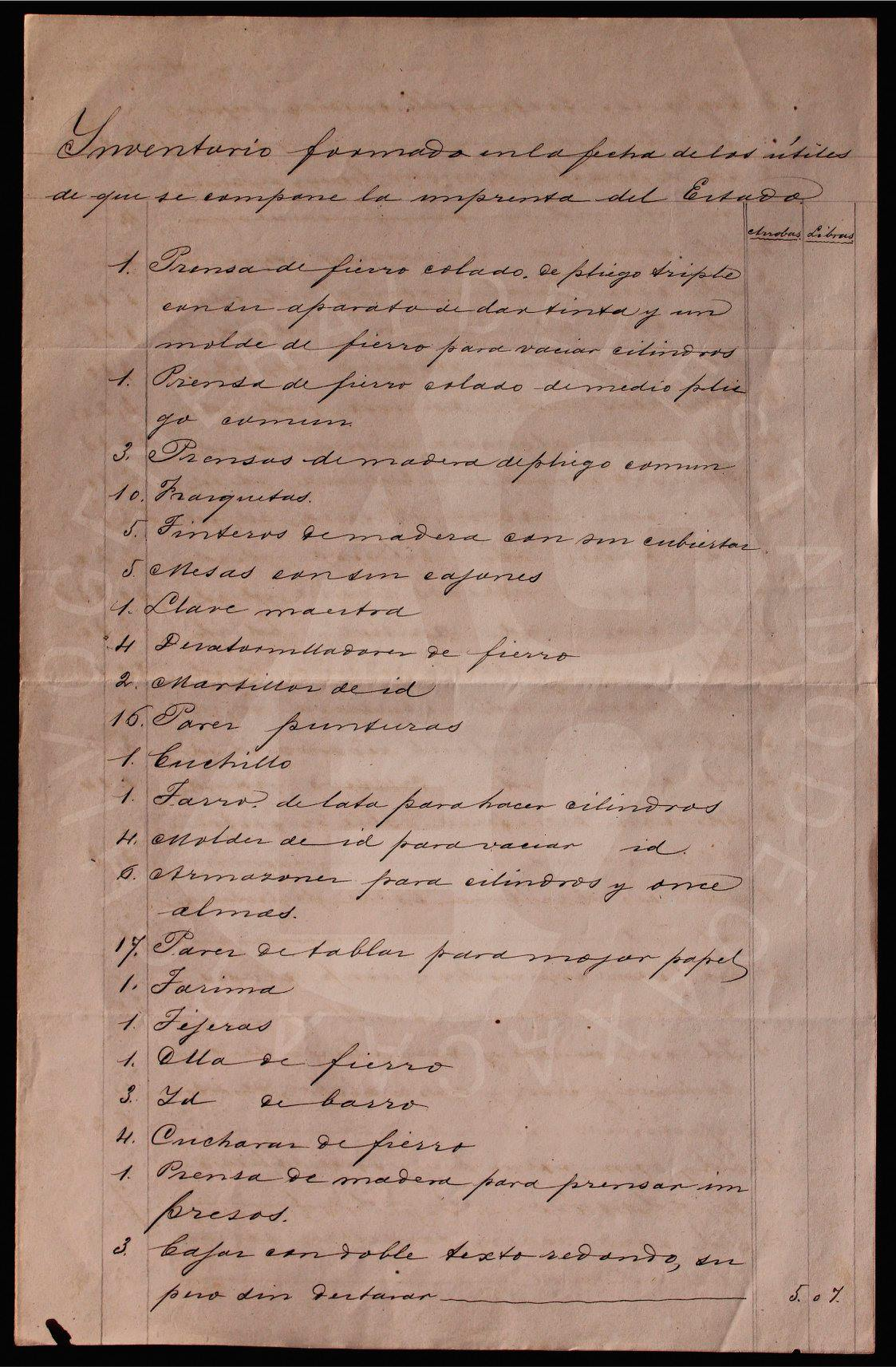 La imprenta del estado en el Archivo General del Estado de Oaxaca.