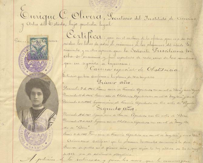 """Tesis """"El aborto"""" para obtener el título de Obstetricia de Prisciliana Mancebo en el Instituto de Ciencias y Artes del Estado."""