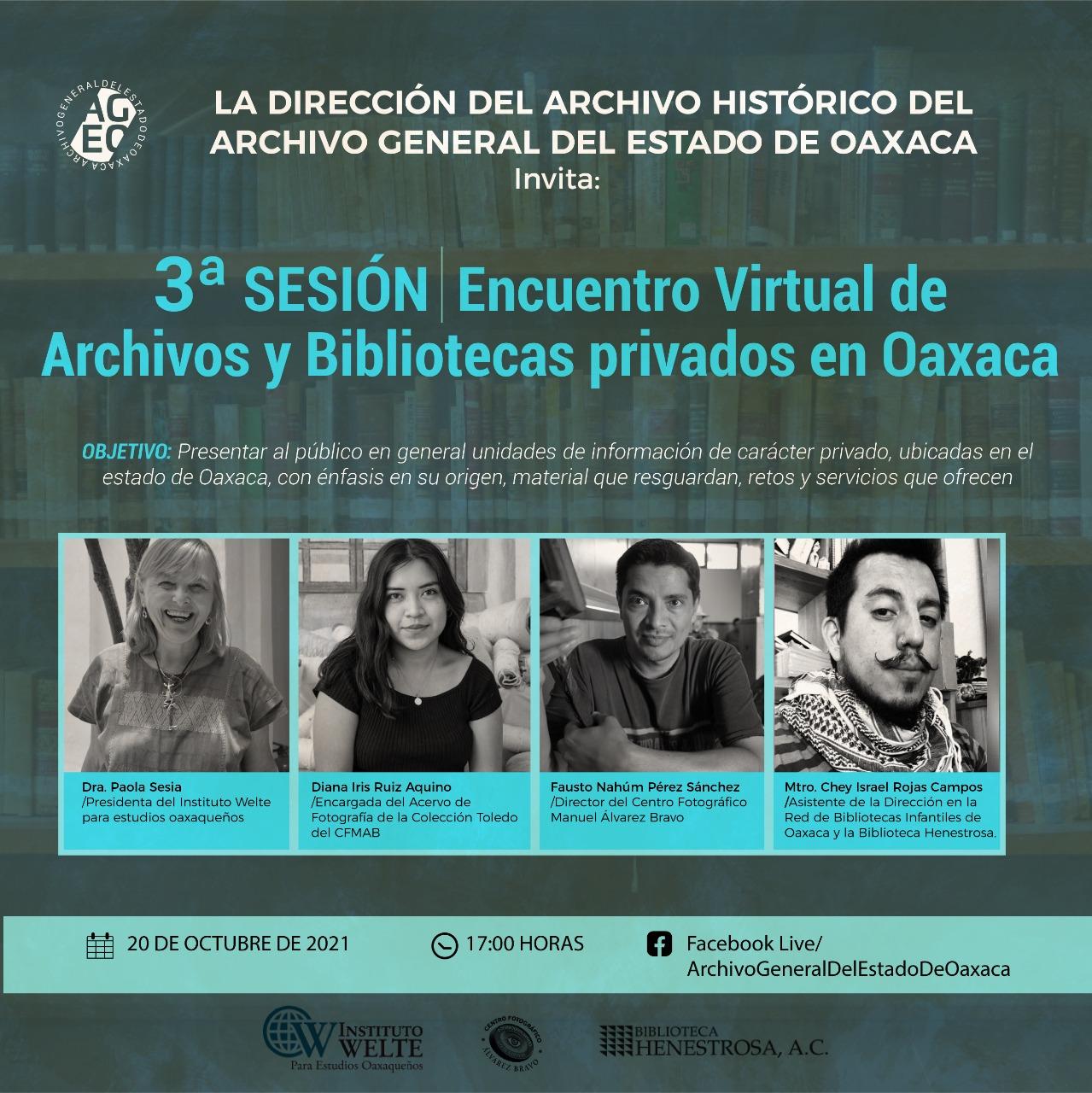 Encuentro virtual de Archivos y Bibliotecas privados en Oaxaca
