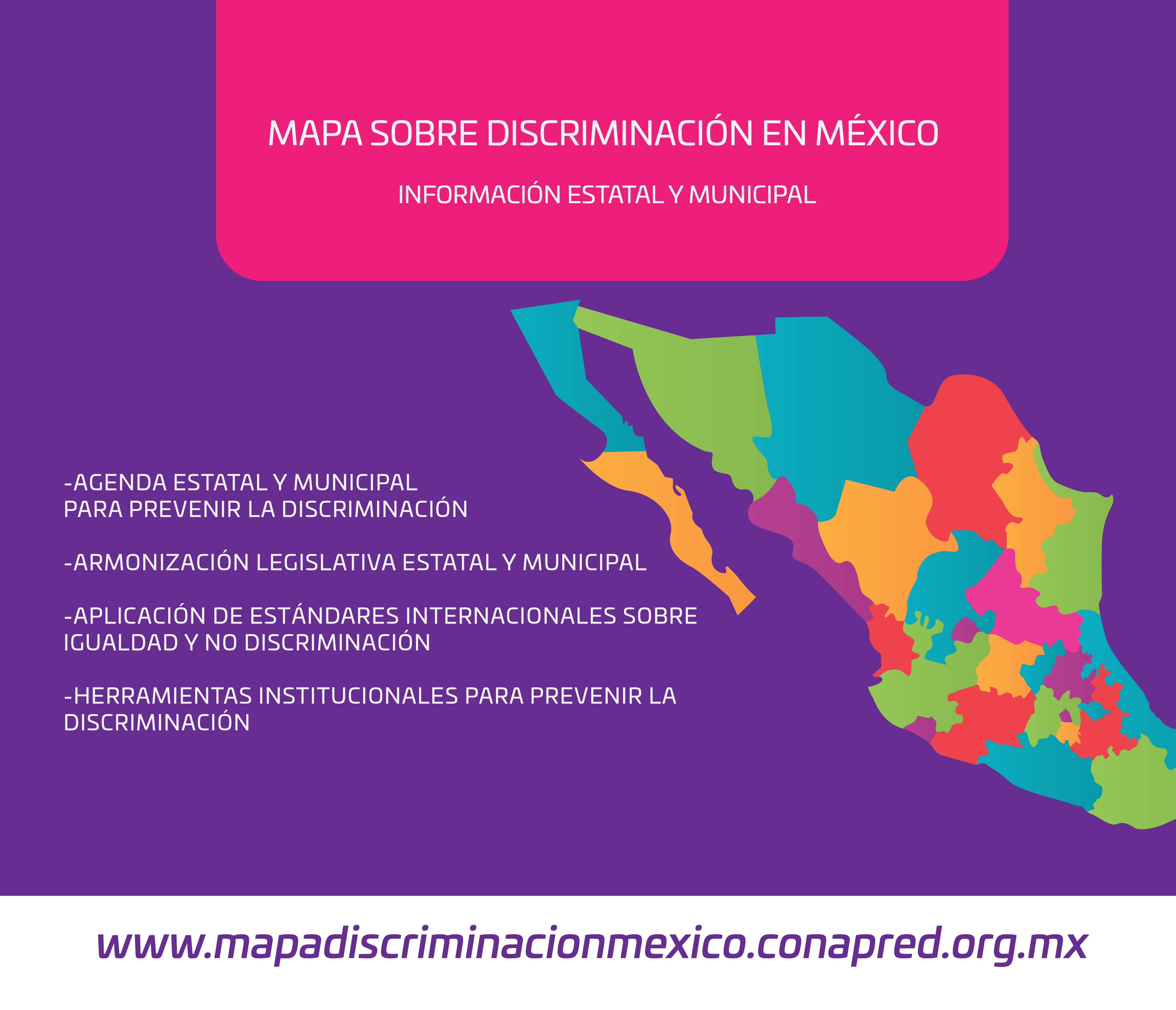 Mapa sobre la situación de la discriminación en los estados del país.