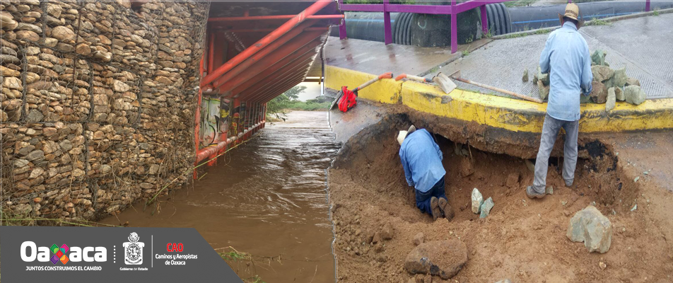 Coadyuva CAO en la atención de afectaciones del Puente Ex Garita en Xoxocotlán.