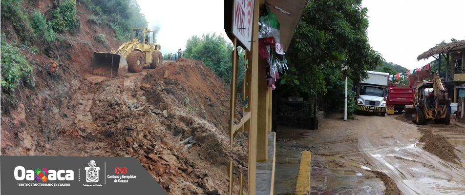 Atiende CAO derrumbes por intensas lluvias en Sierra Sur y Sierra Norte.