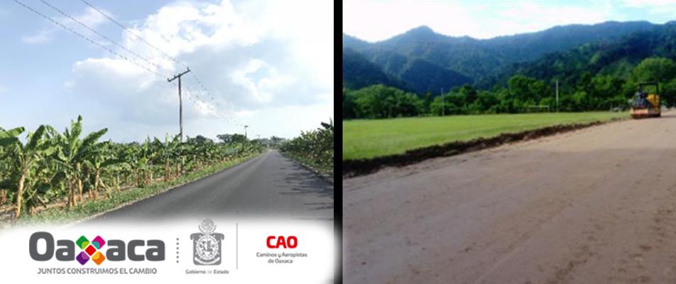 Continúa Gobierno de Oaxaca trabajos en carretera  de la Región de la Cuenca.