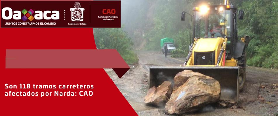 Son 118 tramos carreteros afectados por Narda: CAO.