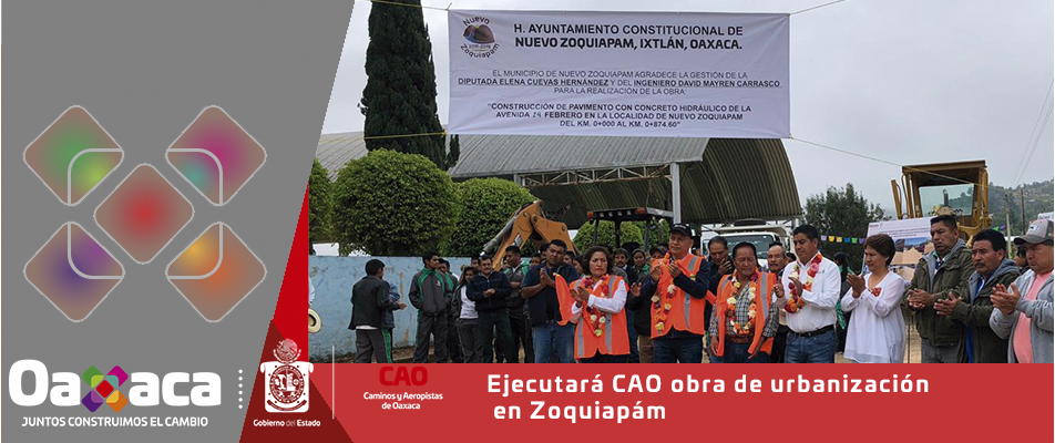 Ejecutará CAO obra de urbanización en Zoquiapám.