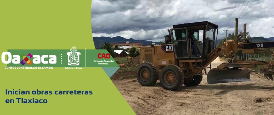 Inician obras carreteras en Tlaxiaco.
