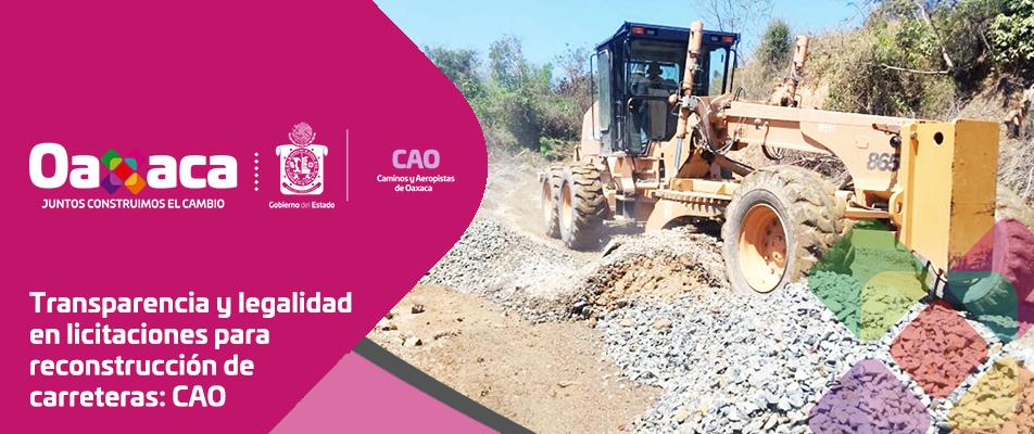Transparencia y legalidad en licitaciones para reconstrucción de carreteras: CAO
