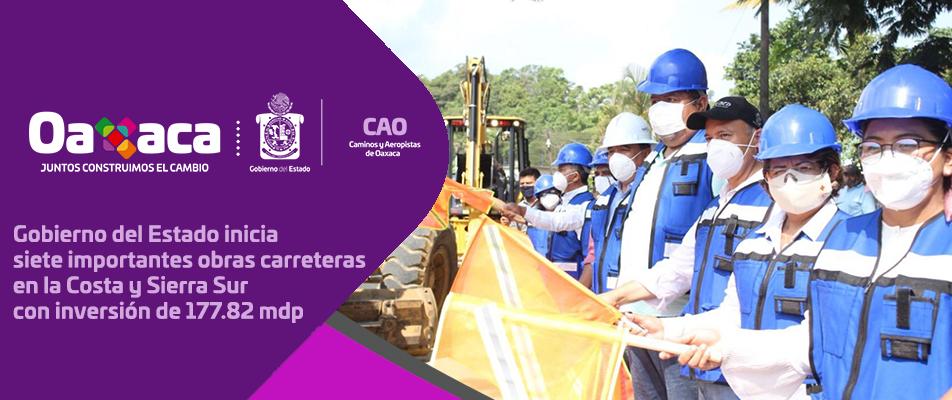 Gobierno del Estado inicia siete importantes obras carreteras en la Costa y Sierra Sur con inversión de 177.82 mdp.