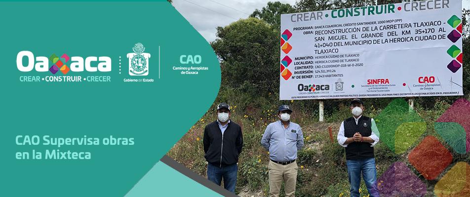 CAO Supervisa obras en la Mixteca.