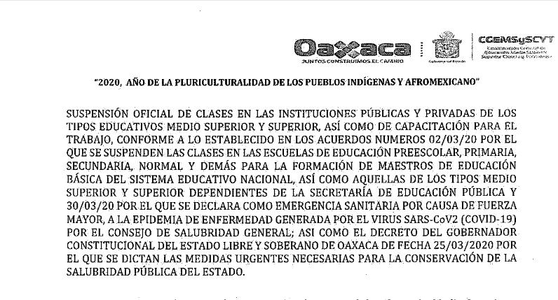 Acuerdo de Suspensión Oficial de Clases del 23 de Marzo al 30 de Abril del 2020