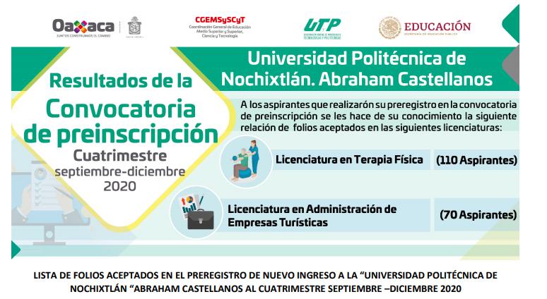 RELACIÓN DE PRE-ADMITIDOS A LA UNIVERSIDAD POLITÉCNICA DE NOCHIXTLÁN