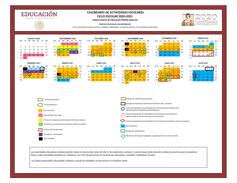 La Coordinación General de Educación Media Superior y Superior, Ciencia y Tecnología informa el calendario 2020-2021 Para educación Media Superior