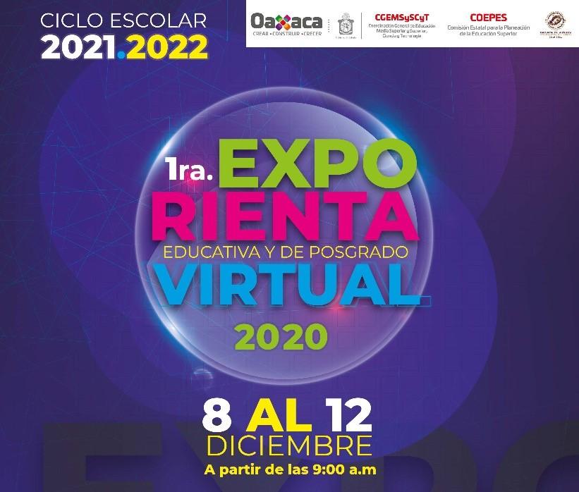 La Coordinación General de Educación Media Superior y Superior, Ciencia y Tecnología te invita a la  Exporienta Educativa y de Posgrado Virtual 2020