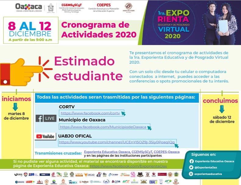 Programa de conferencias y cronograma de actividades de la exporienta educativa y de posgrado virtual 2020.