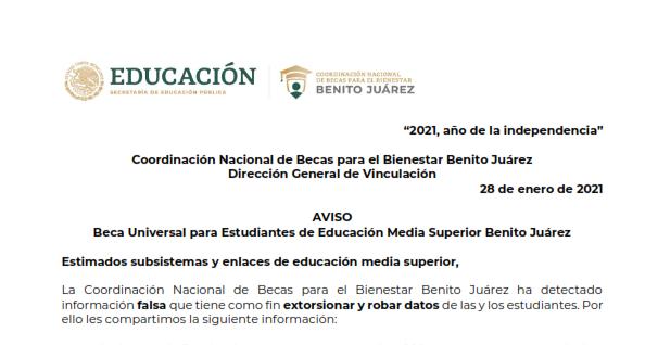 La Coordinación General de Educación Media Superior y Superior, Ciencia y Tecnología comparte la siguiente información de la Coordinación Nacional de Becas para el Bienestar Benito Juárez