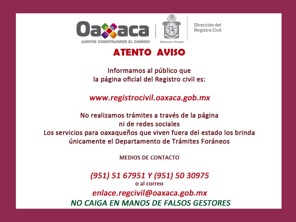 Dirección Del Registro Civil Gobierno Del Estado De Oaxaca