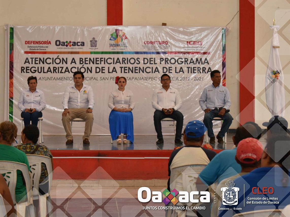El titular de la Comisión de Límites del Estado de Oaxaca Ing. Martín Sánchez Ruíz, en coordinación con  la CORETURO, La Defensoría Pública, Y el Instituto Catastral del Estado de Oaxaca, participó en la mesa de atención a los habitantes de San Pedro Tapanatepec, con el objeto de brindar apoyo técnico en la delimitación de su territorio