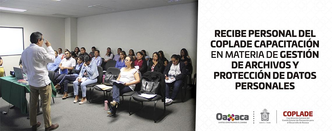 Recibe personal del COPLADE capacitación en materia de gestión de archivos y protección de datos personales