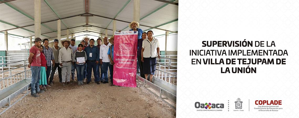 Supervisión de la iniciativa implementada en Villa de Tejupam de la Unión