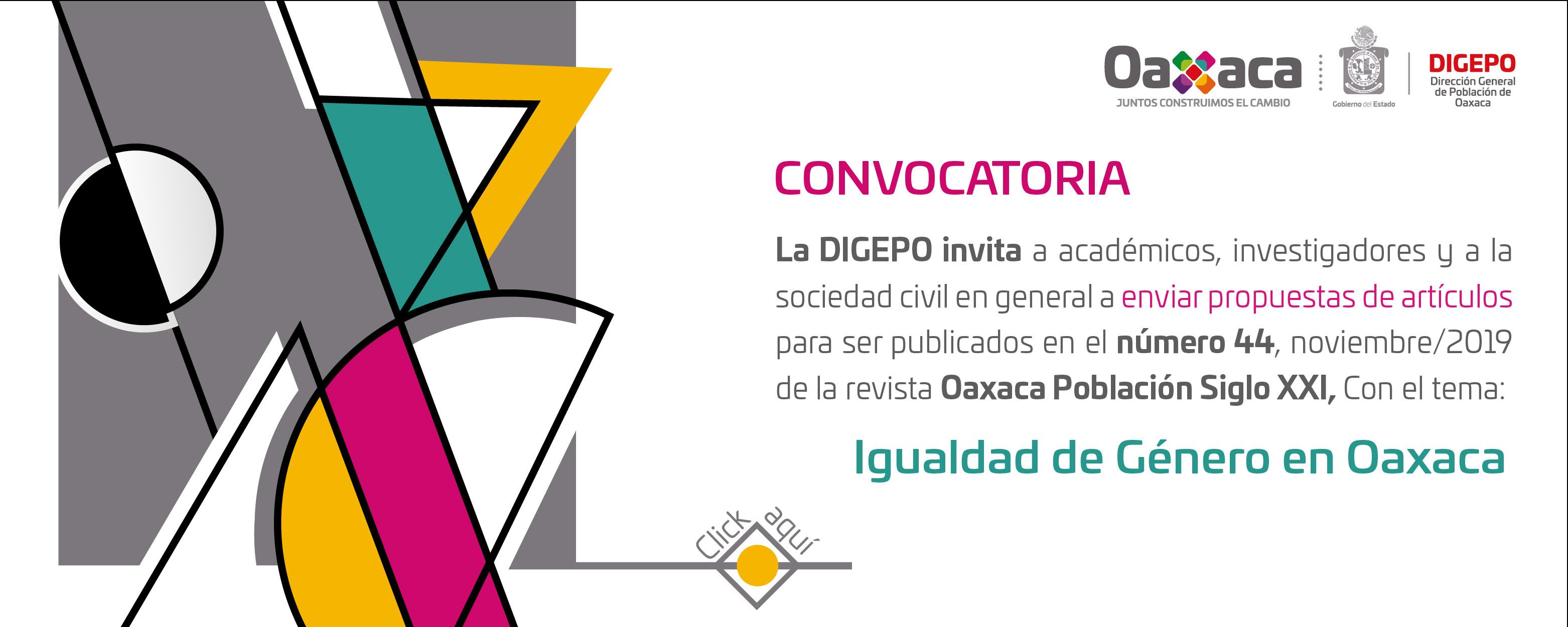 """Convocatoria para registro de artículos de nuestra revista """"Oaxaca Población Siglo XXI"""""""