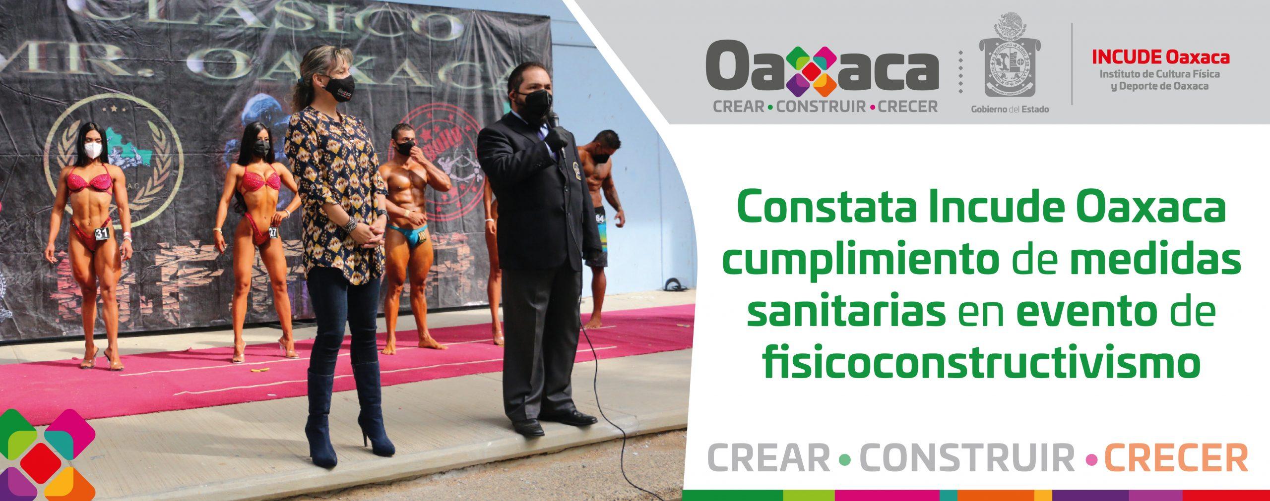 Constata Incude Oaxaca cumplimiento de medidas sanitarias en evento de fisicoconstructivismo