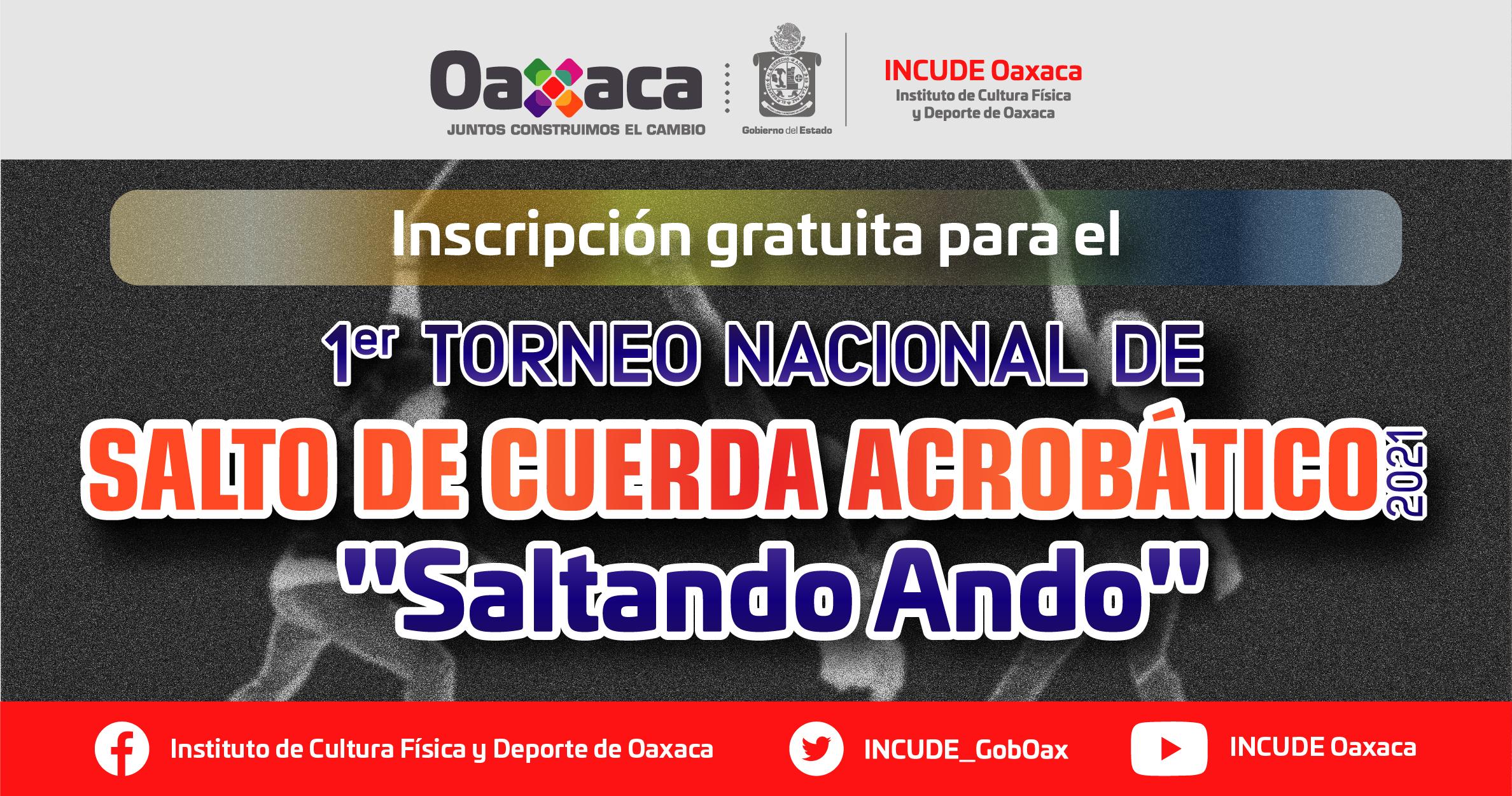 """Inscripción al 1er Torneo Nacional de Salto de Cuerda Acrobático 2021, """"Saltando Ando"""""""