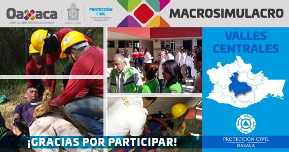 Valles Centrales gracias por participar en el MACROSIMULACRO 2019