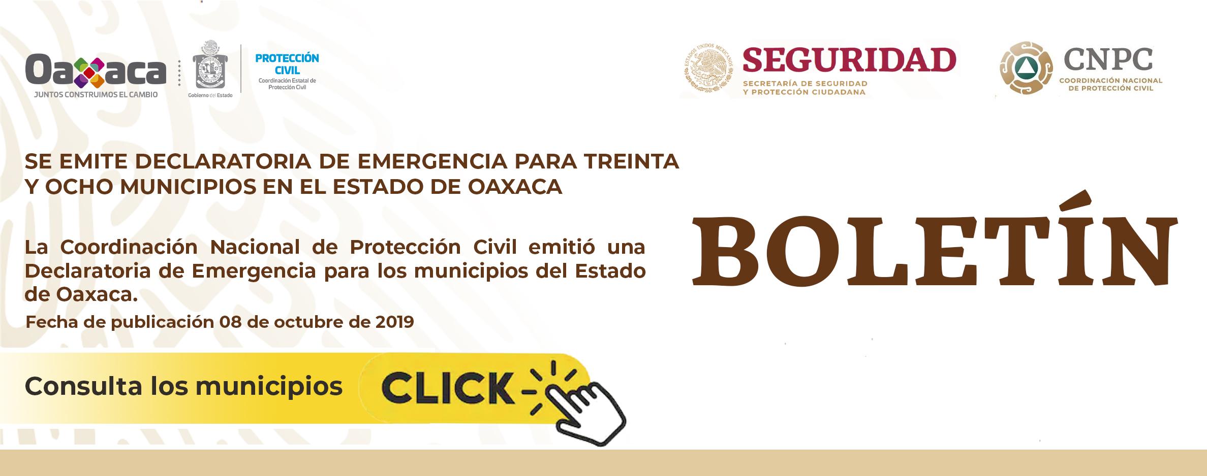 Boletín- Declaratoria de emergencia para treinta y ocho municipios en el estado de Oaxaca -LLUVIA SEVERA E INUNDACIÓN PLUVIAL Y FLUVIAL NARDA