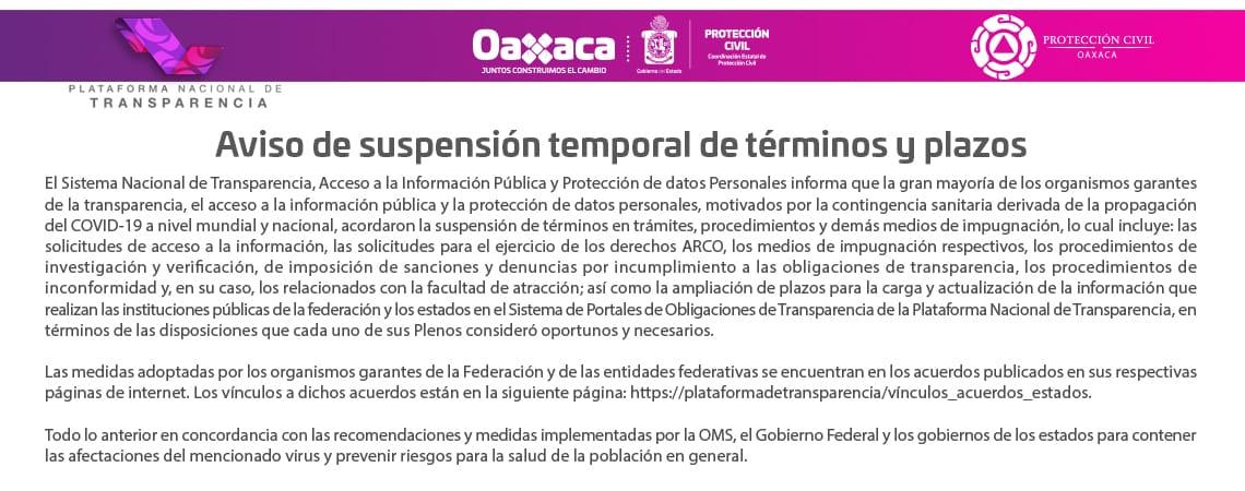 Aviso de suspensión temporal de términos y avisos