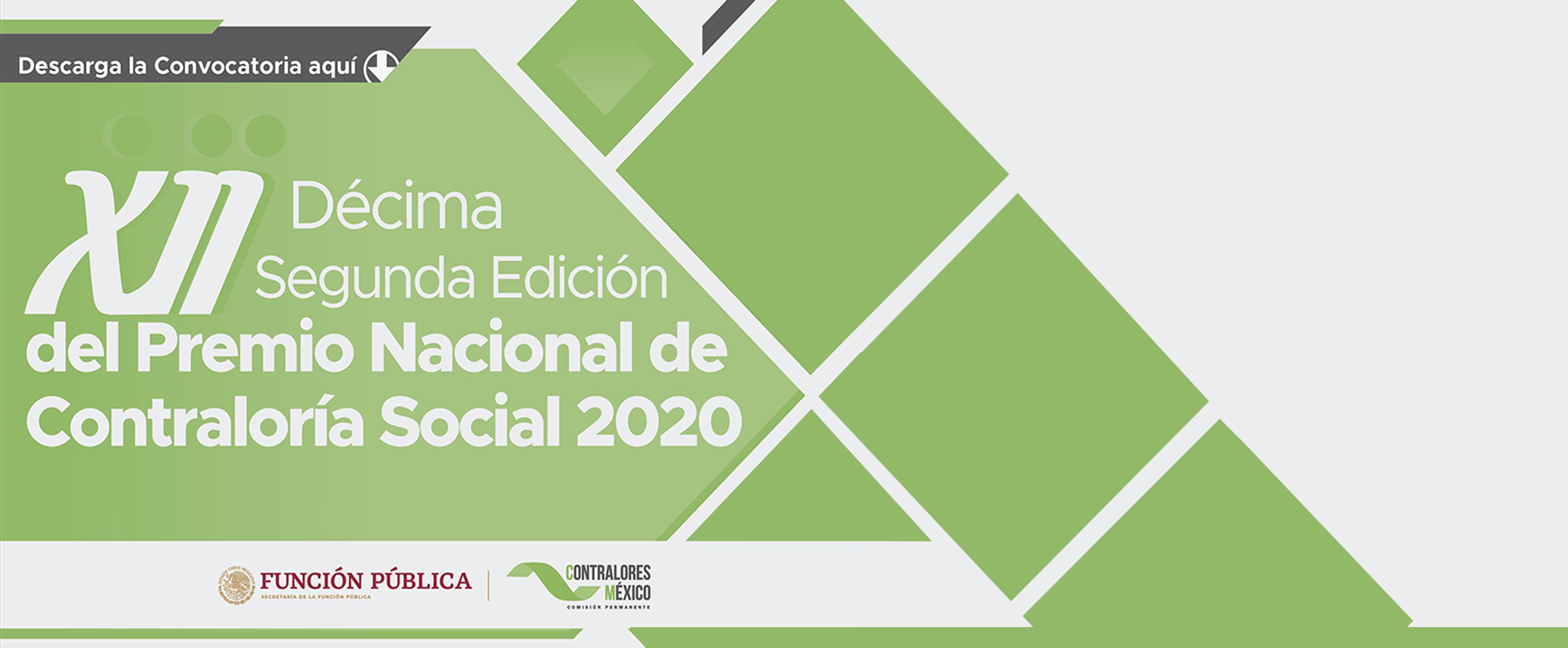 XII Décima Segunda Edición del Premio Nacional de Contraloría Social 2020