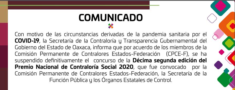 Comunicado Premio Nacional de Contraloría Social 2020