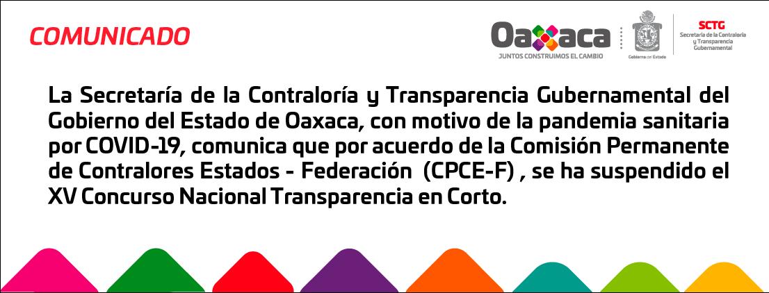 Comunicado XV Concurso Nacional Transparencia en Corto