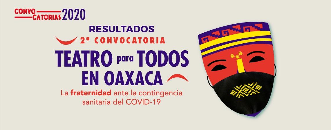 Resultados 2a. Convocatoria Teatro para Todos en Oaxaca