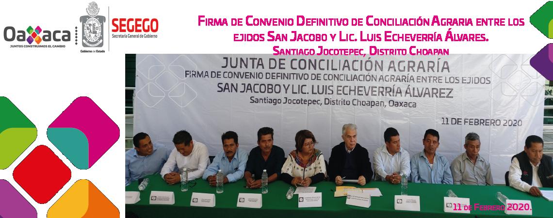 Firma de Convenio Definitivo de Conciliación Agraría entre los ejidos de San Jacobo y Lic. Luis Echeverría Alvarez