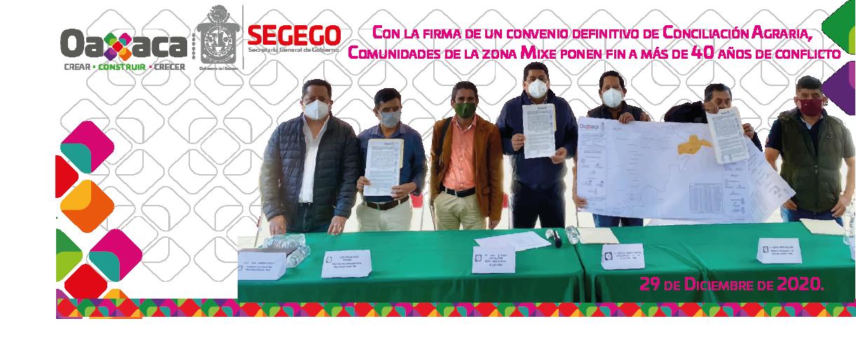 Con la firma de un convenio definitivo de Conciliación Agraria, Comunidades de la zona Mixe ponen fin  a más de 40 años de conflicto