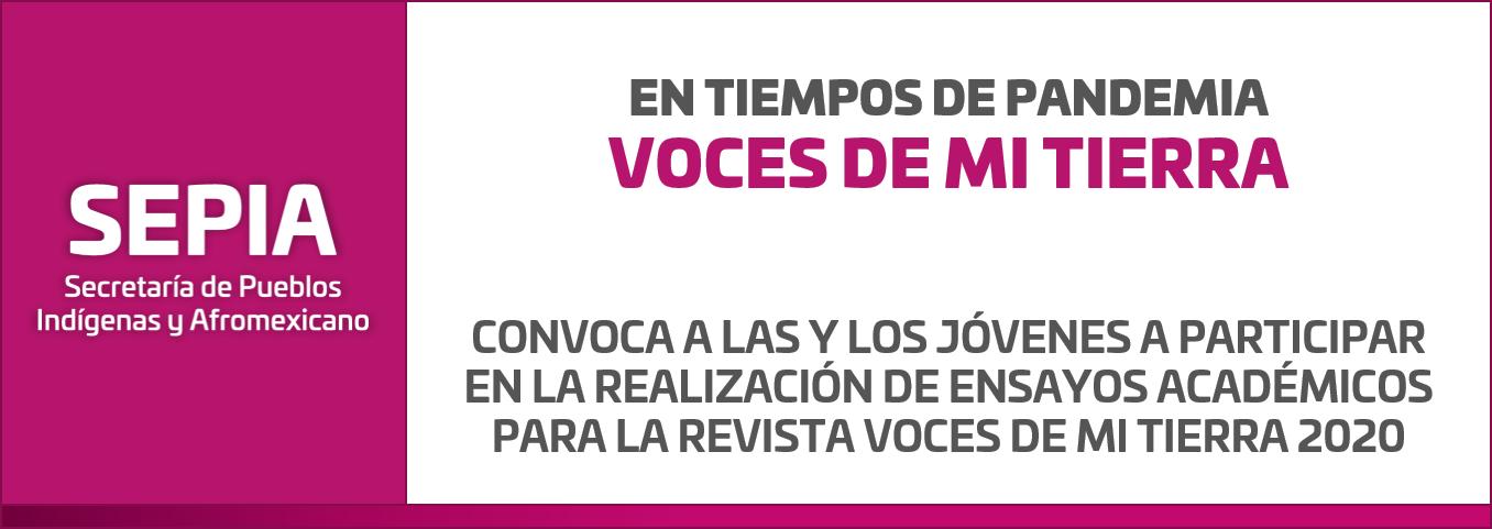 """Convocatoria """"En Tiempos de Pandemia Voces de mi Tierra"""""""