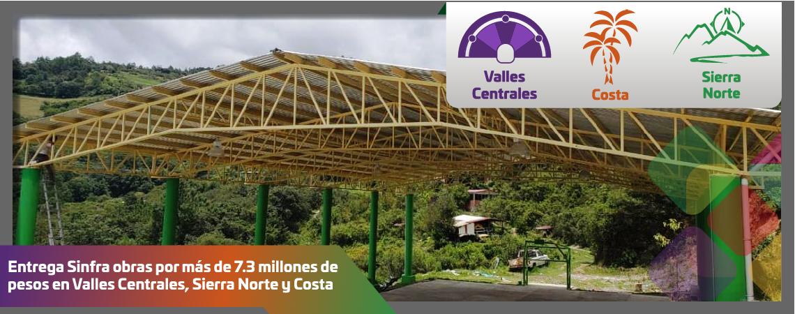 Entrega Sinfra obras por más de 7.3 millones de pesos en Valles Centrales, Sierra Norte y Costa