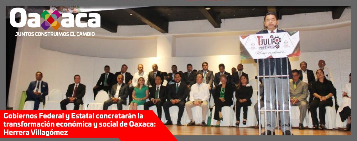 Gobiernos Federal y Estatal concretarán la transformación  económica y social de Oaxaca: Herrera Villagómez