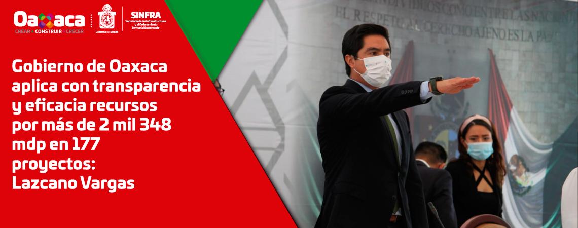 Gobierno de Oaxaca aplica con transparencia y eficacia recursos  por más de 2 mil 348 mdp en 177 proyectos: Lazcano Vargas